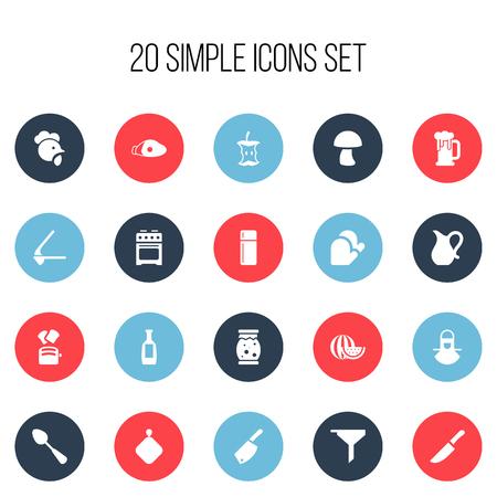 Conjunto de 20 iconos de alimentos editables. Incluye símbolos como refrigerador, jarra, estufa y más. Se puede usar para diseño web, móvil, de interfaz de usuario y de infografía. Foto de archivo - 84663856