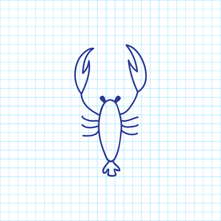 Vector Illustration Of Zoo Symbol On Scorpion Doodle. Premium Quality Isolated Lobster Element In Trendy Flat Style. Illustration