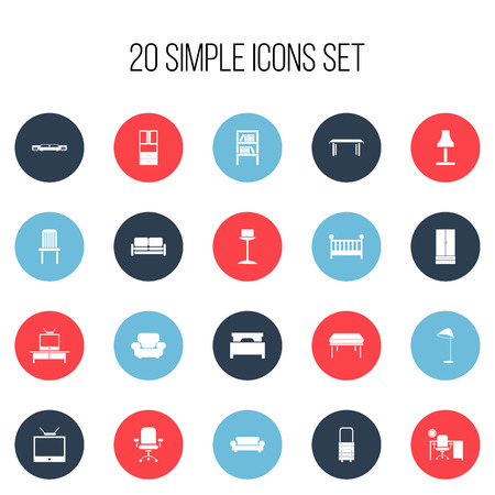 Set Of 20 Editable Furniture Icons. Includes Symbols Such As Enlightenment, Bed, Trestle And More. Can Be Used For Web, Mobile, UI And Infographic Design.