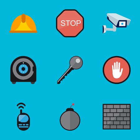 Set Of 9 Editable Security Flat Icons. Includes Symbols Such As Talkie, Safe, Barrier And More. Can Be Used For Web, Mobile, UI And Infographic Design. Illustration