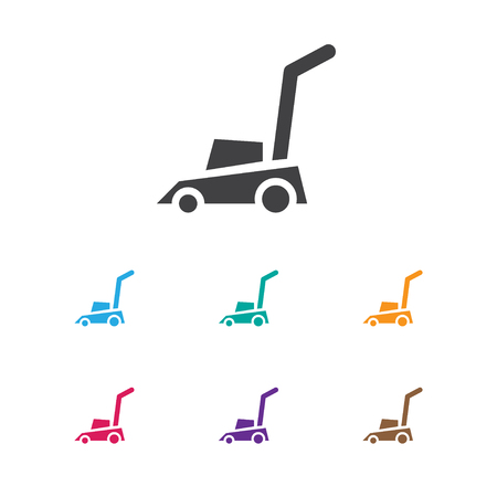 exchanger: Vector Illustration Of Instrument Symbol On Lawn Mower Icon. Premium Quality Isolated Grass Cutting Machine Element In Trendy Flat Style.