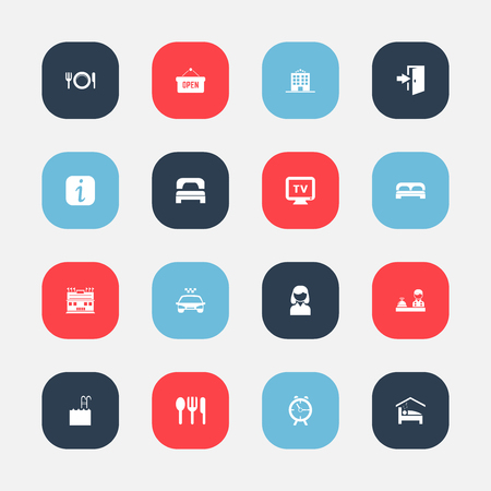 Set Of 16 Editable Motel Icons. Includes Symbols Such As Transport Car, Opened Placard, Check In And More. 向量圖像