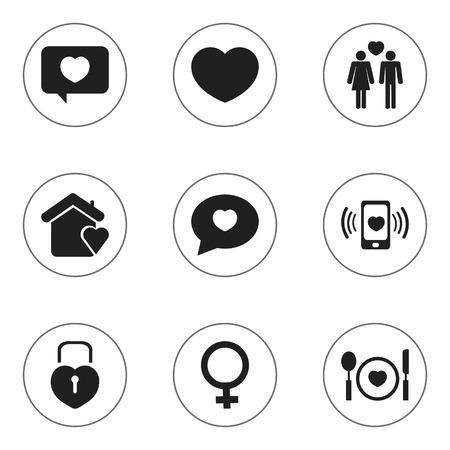 pareja comiendo: Conjunto De 9 Iconos Editable Del Amor. Incluye símbolos tales como casa, proclamación, mensaje del amor y más. Puede ser utilizado para Web, Mobile, UI y diseño Infográfico.