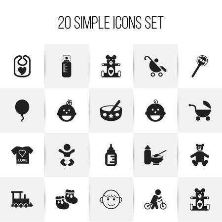 Conjunto de 20 iconos infantiles editables. Incluye símbolos como peluche, animal de peluche, oso de juguete y más. Se puede usar para diseño web, móvil, de interfaz de usuario y de infografía.