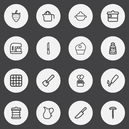 methane: Set Of 16 Editable Cooking Outline Icons. Includes Symbols Such As Cupcake, Putty, Powdered Pepper And More. Can Be Used For Web, Mobile, UI And Infographic Design. Illustration