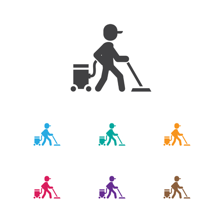 Vector Illustration Of Cleaning Symbol On Carpet Vacuuming Icon. Premium Quality Isolated Worker Element In Trendy Flat Style. Illustration