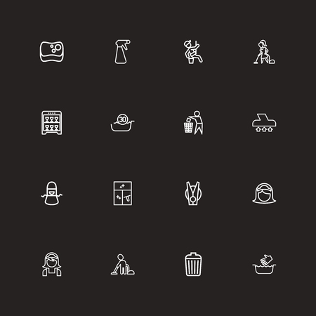 Set Of 16 Editable Hygiene Outline Icons. Includes Symbols Such As Window Cleaner, Vacuuming Man, Garbage Bin And More. Can Be Used For Web, Mobile, UI And Infographic Design.