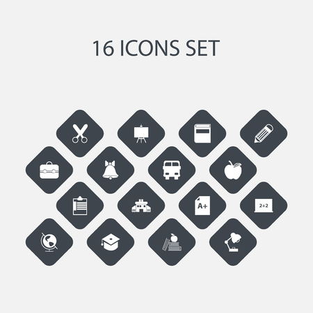 Set Of 16 Editable Education Icons. Includes Symbols Such As Trunk, Jingle, Earth Planet And More. Can Be Used For Web, Mobile, UI And Infographic Design.