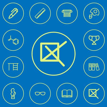 Zestaw 12 ikon konspektu edytowalne nauki. Zawiera symbole, takie jak znak, książka, hełm i inne. Może być używany do projektowania stron internetowych, urządzeń mobilnych, interfejsu użytkownika i infografiki.