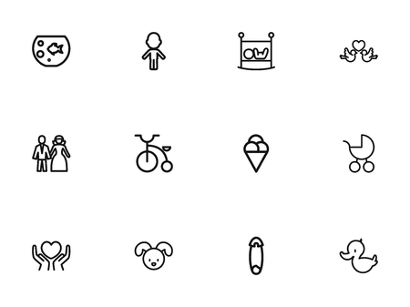 Set Of 12 Editable Folks Outline Icons. Includes Symbols Such As Infant Bed, Dog, Girl And More. Can Be Used For Web, Mobile, UI And Infographic Design.