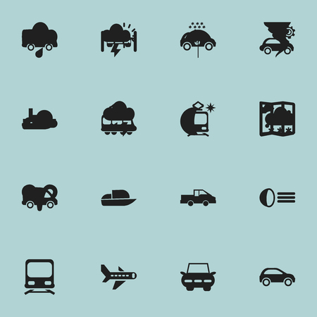 Set Of 16 Editable Transportation Icons. Includes Symbols Such As Tramcar, Streetcar, Wagon And More. Can Be Used For Web, Mobile, UI And Infographic Design. Illustration