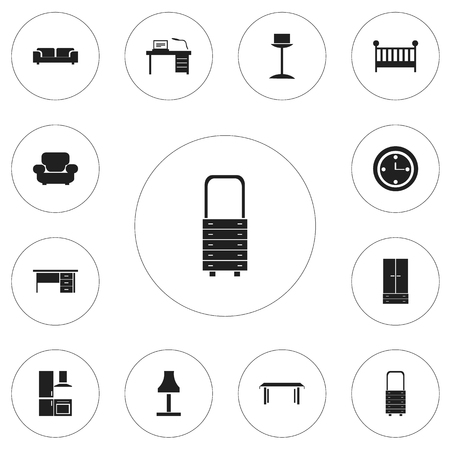 Set Of 12 Editable Furnishings Icons. Includes Symbols Such As Sofa, Settee, Stillage And More. Can Be Used For Web, Mobile, UI And Infographic Design. Illustration