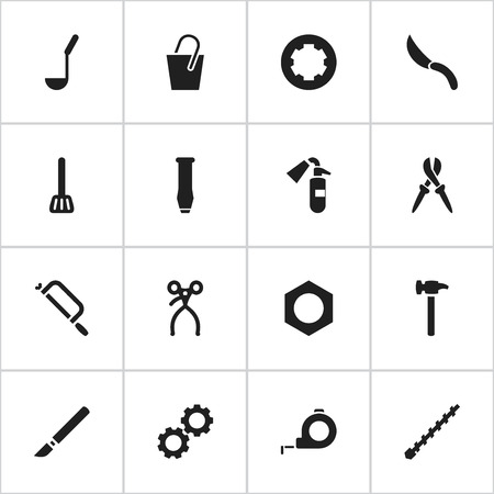 Set Of 16 Editable Apparatus Icons. Includes Symbols Such As Handsaw, Sprinkler, Pliers