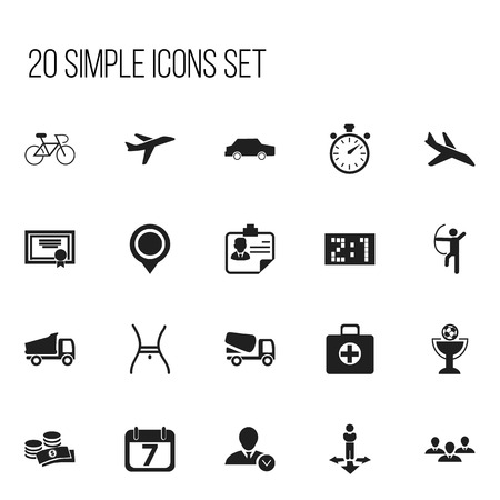Set Of 20 Editable Complicated Icons. Includes Symbols Such As Group, Velocipede, Chronometer And More. Can Be Used For Web, Mobile, UI And Infographic Design.