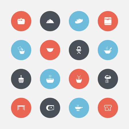 Set Of 16 Editable Kitchen Icons. Includes Symbols Such As Desk, Soup, Bowl And More. Can Be Used For Web, Mobile, UI And Infographic Design.