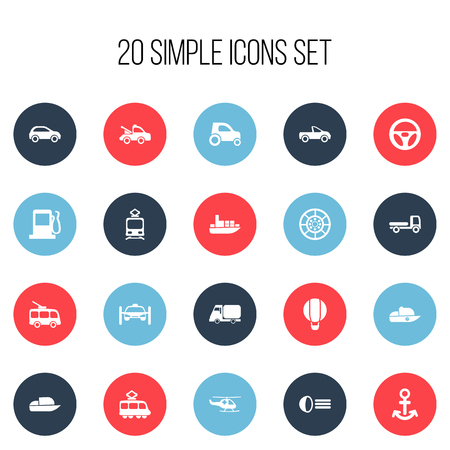 luminary: Set Of 20 Editable Transport Icons. Includes Symbols Such As Emergency Copter, Auto, Luminary And More Illustration