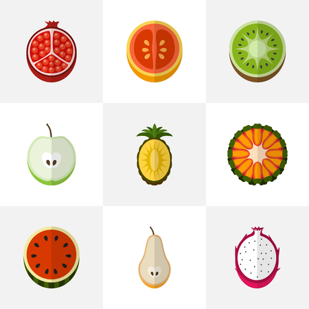 Set Of 9 Editable Fruits Flat Icons. Includes Symbols Such As Guava, Exotic Dessert, Orange And More. Can Be Used For Web, Mobile, UI And Infographic Design. Illustration