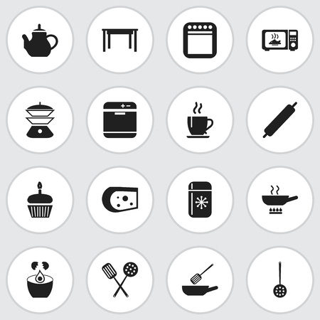 Set Of 16 Editable Restaurant Icons. Includes Symbols Such As Cheddar, Multicooker, Dough And More. Can Be Used For Web, Mobile, UI And Infographic Design.