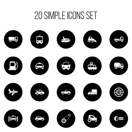 Set Of 20 Editable Transportation Icons. Includes Symbols Such As Transportation, Automotive, Luminary And More. Can Be Used For Web, Mobile, UI And Infographic Design.