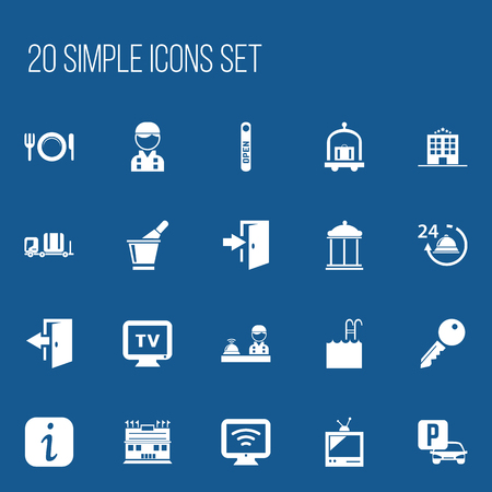 door handle: Set Of 20 Editable Motel Icons. Includes Symbols Such As Auto Stand, Champagne , Employee. Can Be Used For Web, Mobile, UI And Infographic Design.