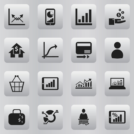 Set Of 16 Editable Analytics Icons. Includes Symbols Such As Work Man, Trading Purse, Phone Statistics And More. Can Be Used For Web, Mobile, UI And Infographic Design. Illustration