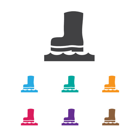 Vector Illustration Of Weather Symbol On Rubber Boot Icon. Premium Quality Isolated Waterproof Shoes Element In Trendy Flat Style.