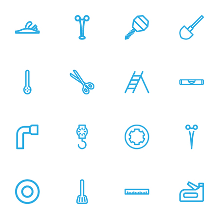 tablespoon: Set Of 16 Editable Tools Outline Icons. Includes Symbols Such As Balance, Drill, Cuisine Utensil And More. Can Be Used For Web, Mobile, UI And Infographic Design. Illustration