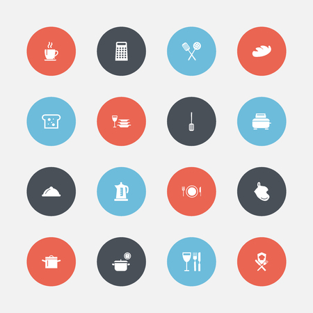 Set Of 16 Editable Kitchen Icons. Includes Symbols Such As Baguette, Dish, Bread And More. Can Be Used For Web, Mobile, UI And Infographic Design.