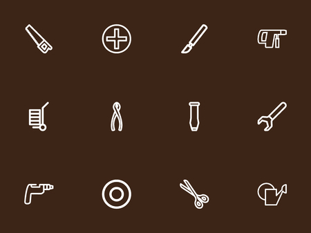 Set Of 12 Editable Apparatus Outline Icons. Includes Symbols Such As Bore, Spacer, Drill And More. Can Be Used For Web, Mobile, UI And Infographic Design.