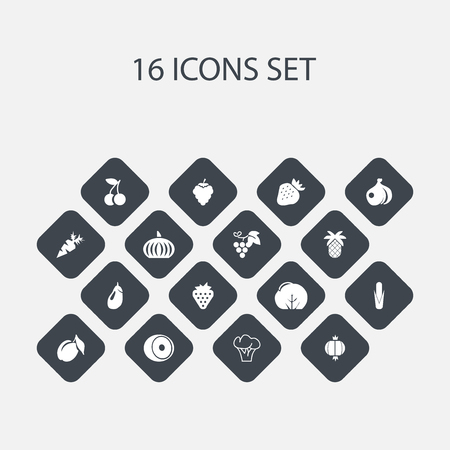 sweetcorn: Set Of 16 Editable Berry Icons. Includes Symbols Such As Tropical Fruit, Fruits, Root Vegetable And More. Can Be Used For Web, Mobile, UI And Infographic Design.