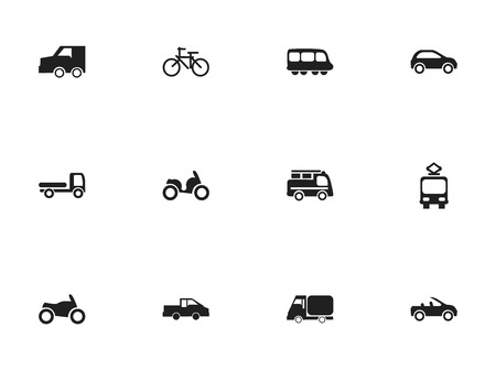 freight train: Set Of 12 Editable Transportation Icons. Includes Symbols Such As Truck, Cable Railway, Moped And More. Can Be Used For Web, Mobile, UI And Infographic Design.