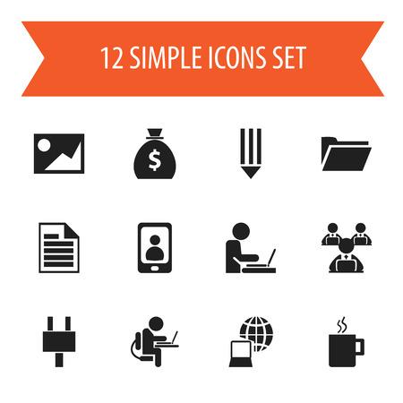 Set di 12 icone di Office modificabili. Include simboli come lavoratore in computer portatile, telefono, mondo e altro ancora. Può essere utilizzato per Web, Mobile, interfaccia utente e progettazione infografica. Archivio Fotografico - 84946113