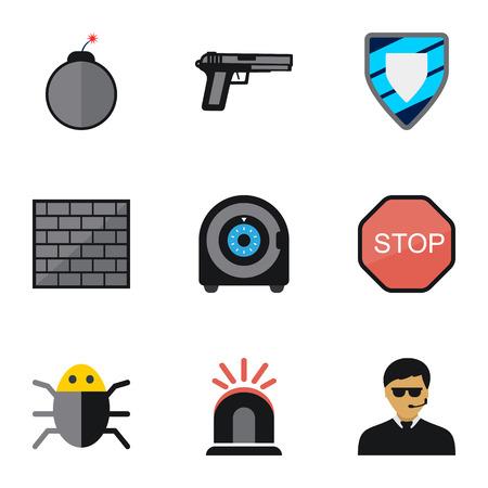 Ensemble de 9 icônes plats sécurité modifiables. Inclut des symboles tels que Protection, Alarme, Virus, etc. Peut être utilisé pour la conception Web, mobile, UI et infographique.