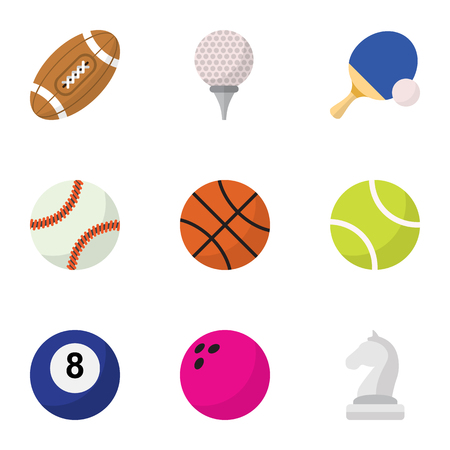 Set Of 9 Editable Sport Flat Icons. Includes Symbols Such As Miniball, Tennis, Touchdown And More. Can Be Used For Web, Mobile, UI And Infographic Design. Illustration