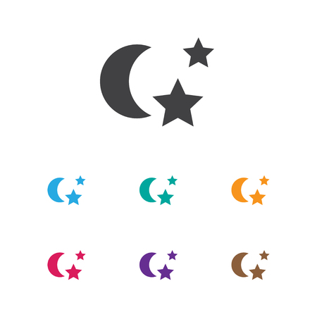 Vector Illustration Of Folks Symbol On Night Icon. Premium Quality Isolated Midnight Element In Trendy Flat Style.