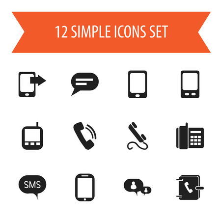 gps device: Set Of 12 Editable Gadget Icons. Includes Symbols Such As Share Display, Phone, Message And More. Can Be Used For Web, Mobile, UI And Infographic Design.