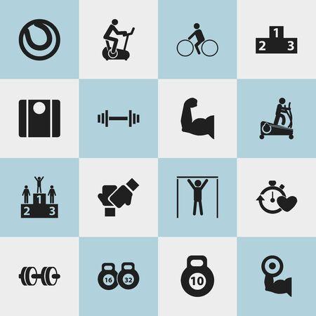 Set van 16 bewerkbare actieve pictogrammen. Bevat symbolen zoals fietsrijder, platform voor winnaar, trainingsfiets en meer. Kan worden gebruikt voor Web, Mobile, UI en Infographic Design.