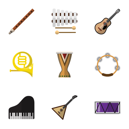 Set Of 9 Editable Media Flat Icons. Includes Symbols Such As Piano, Portal, Sticks And More. Can Be Used For Web, Mobile, UI And Infographic Design.