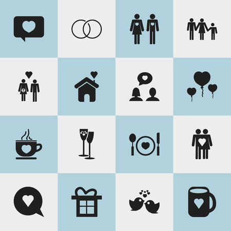 Set Of 16 Editable Love Icons. Includes Symbols Such As Celebration, Married, Sparrow And More. Can Be Used For Web, Mobile, UI And Infographic Design.