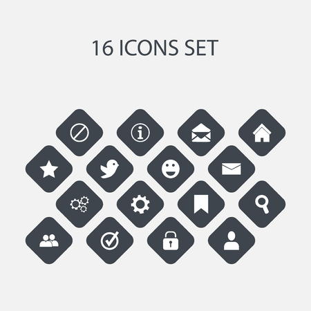 wap: Set Of 16 Editable Network Icons. Includes Symbols Such As Mail, Bookmark, Tag And More