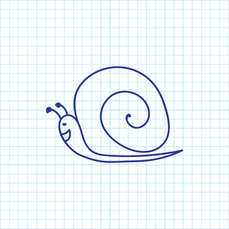 Vector Illustration Of Zoo Symbol On Snail Doodle Illustration