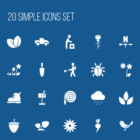 rainy season: Set Of 20 Editable Agriculture Icons. Includes Symbols Such As Botany, Beetle, Plant Spray And More Illustration