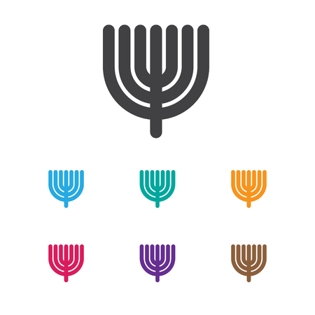 Vector Illustration Of Religion Symbol On Menorah Icon. Premium Quality Isolated Hanukkah Element In Trendy Flat Style.