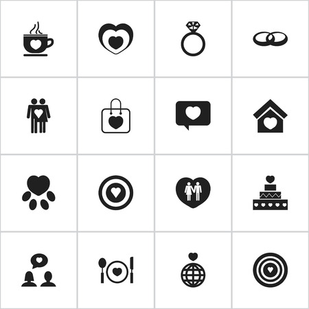 acquaintance: Set Of 16 Editable Passion Icons. Includes Symbols Such As Trappings, Wedding, Couple And More