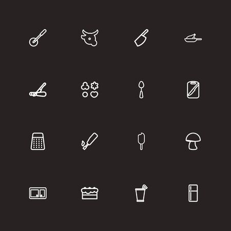 frowzy: Set Of 16 Editable Cooking Outline Icons. Includes Symbols Such As Knife, Pizza Blade, Refrigerator And More. Can Be Used For Web, Mobile, UI And Infographic Design. Illustration