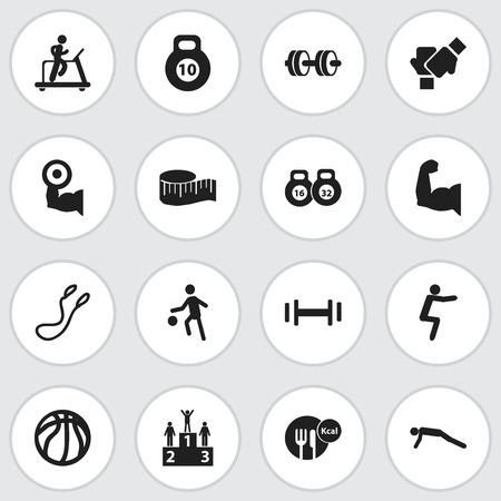 Set Of 16 Editable Fitness Icons. Includes Symbols Such As Physical Education, Weightlifting, Jogging And More Illustration