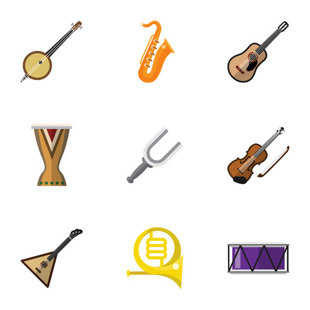 Set Of 9 Editable Sound Flat Icons. Includes Symbols Such As Portal, Electro, Strings And More