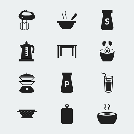 Set Of 12 Editable Kitchen Icons. Includes Symbols Such As Kettle, Drink, Soup And More