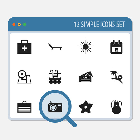 Set Of 12 Editable Travel Icons. Includes Symbols Such As Basin, Trading Purse, Date Block And More. Can Be Used For Web, Mobile, UI And Infographic Design.