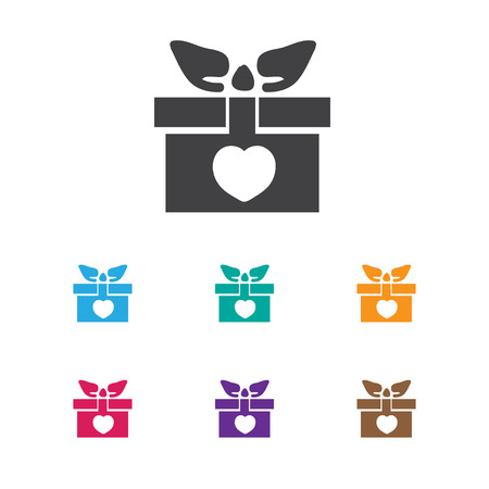 Vector Illustration Of Amour Symbol On Gift Icon. Premium Quality Isolated Present Element In Trendy Flat Style. Illustration